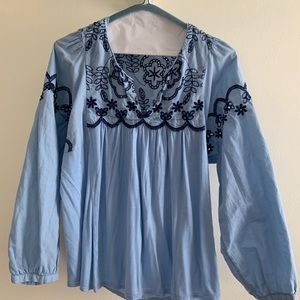 Balloon Sleeve Embroidered Blue Top